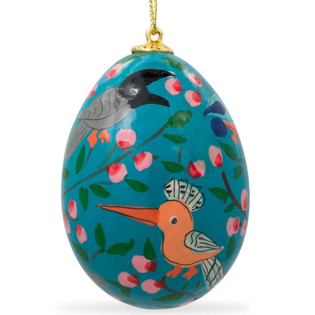 Set of 6 Flowers and Birds Ukrainian Wooden Easter Egg Ornaments