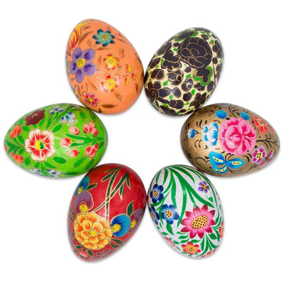 Set of 6 Garden Flowers Bouquet Ukrainian Wooden Easter Eggs Pysanky 3 Inches by BestPysanky