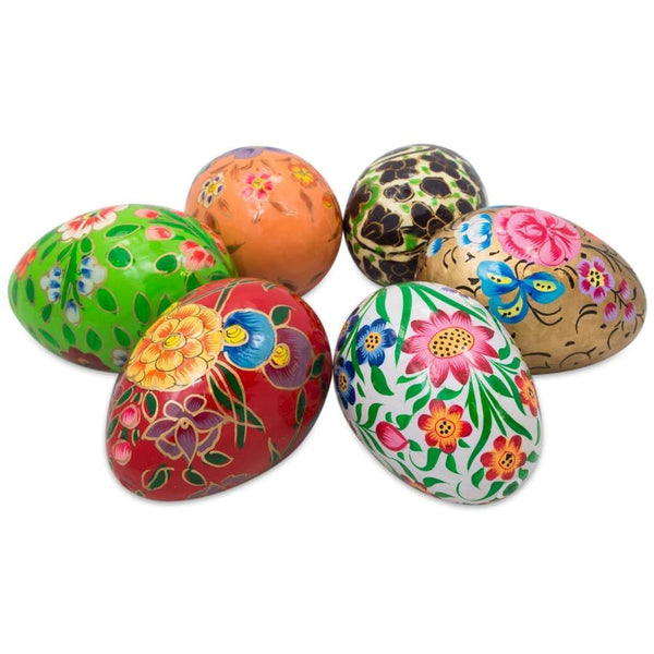 "3"" Set of 6 Garden Flowers Bouquet Wooden Pysanky Ukrainian Easter Eggs 