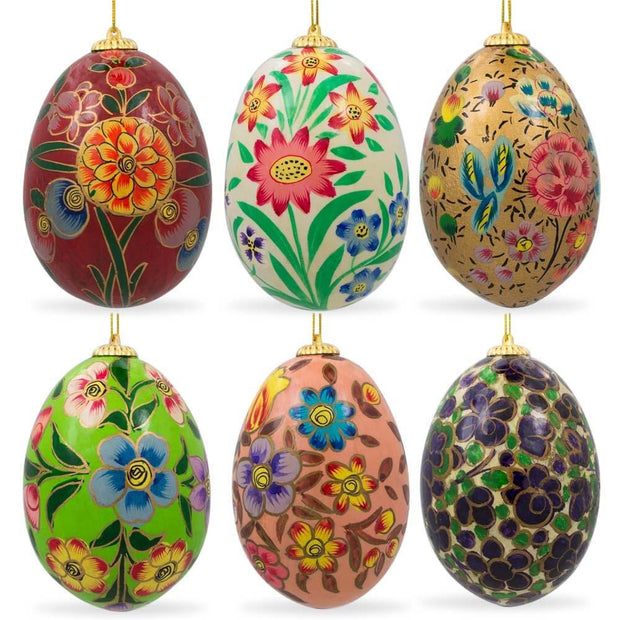 Set of 6 Oriental Flowers Wooden Pysanky Ukrainian Easter Eggs Pysanky 3 Inches by BestPysanky