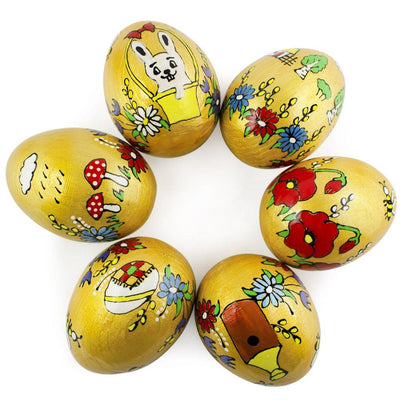 Set of 6- Bear, Bunny, Bee, Chick Golden Ukrainian Wooden Easter Eggs 2.5 Inches by BestPysanky