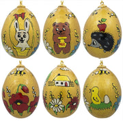"BestPysanky Easter Eggs > Easter Ornaments - 2.5"" Set of 6 Animals Gold Tone Ukrainian Wooden Easter Egg Ornaments"