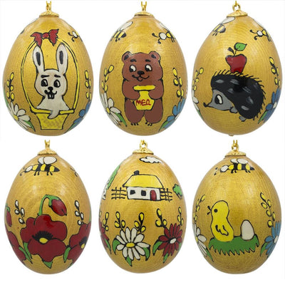 Set of 6 Gold Tone Ukrainian Wooden Easter Egg Ornaments 2.5 Inches by BestPysanky