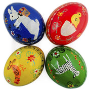 "BestPysanky Easter Eggs > Wooden Eggs > Animals - 2.25"" Set of 4 Animals- Bunny, Chick, Rooster and Sheep Wooden Ukrainian Easter Eggs"