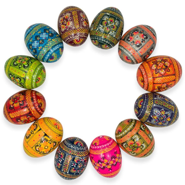 Set of 12 Ukrainian Hand Painted Pysanky Wooden Easter Eggs 2.5 Inches by BestPysanky