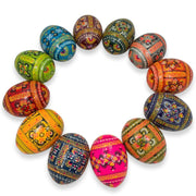 "BestPysanky Easter Eggs > Wooden Eggs > Regular Size - 2.5"" Set of 12 Ukrainian Hand Painted Pysanky Wooden Easter Eggs"