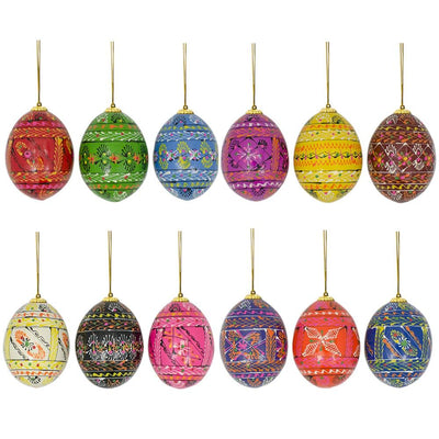 Set of 12 Pysanky Ukrainian Easter Egg Wooden Christmas Ornaments 2.5 Inches by BestPysanky