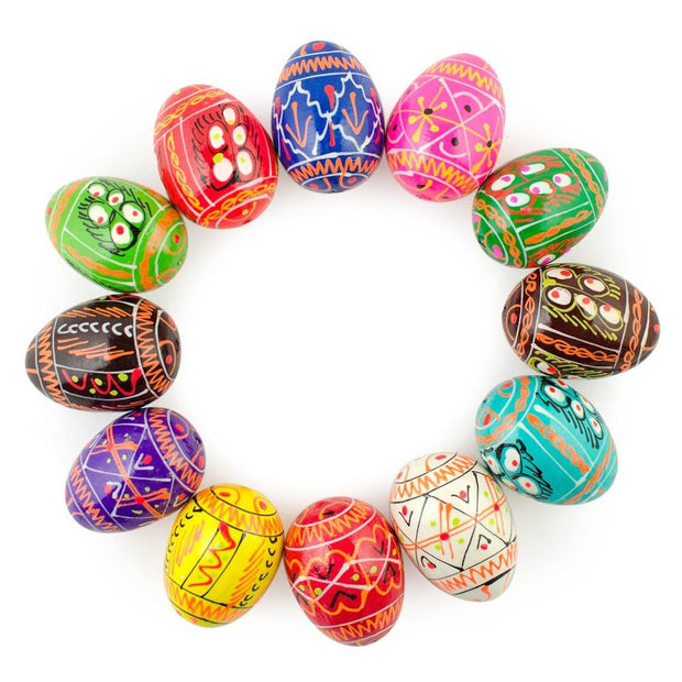 "BestPysanky Easter Eggs > Wooden Eggs > Regular Size - 1.25"" Set of 12 Ukrainian Painted Wooden Easter Eggs Pysanky"