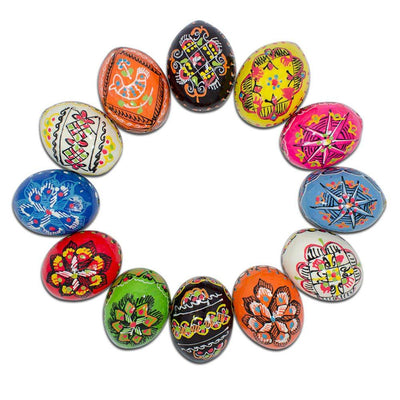 Set of 12 Ukrainian Wooden Easter Eggs Pysanky 1.5 Inches by BestPysanky