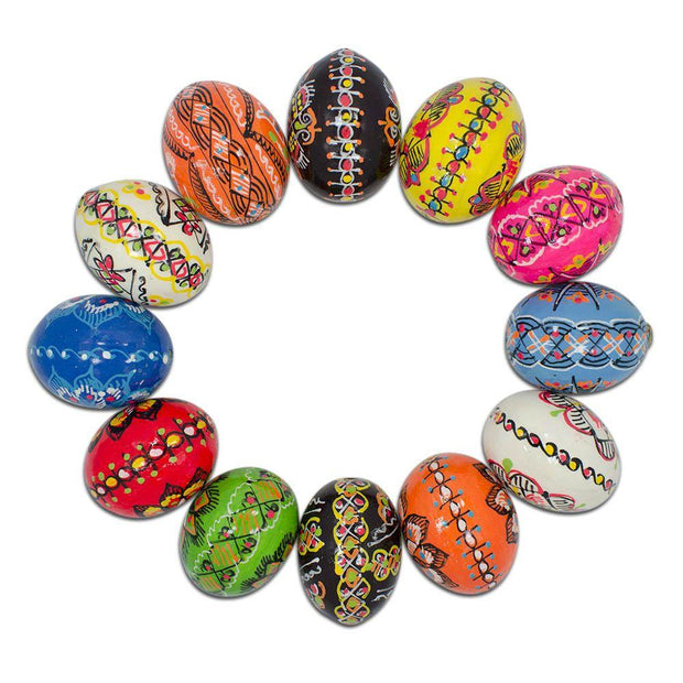 "BestPysanky Easter Eggs > Wooden Eggs > Regular Size - 1.5"" Set of 12 Hand Decorated Ukrainian Wooden Easter Eggs Pysanky"