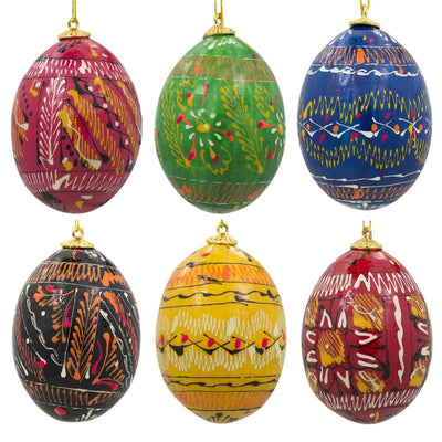 Set of 6 Pysanky Ukrainian Easter Egg Wooden Easter Ornaments 2.5 Inches by BestPysanky