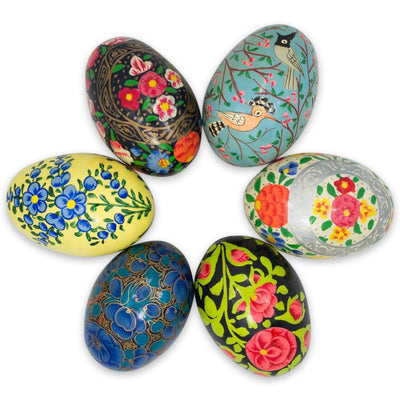 Set of 6 Flowers and Birds Ukrainian Wooden Easter Eggs Pysanky 3 Inches by BestPysanky