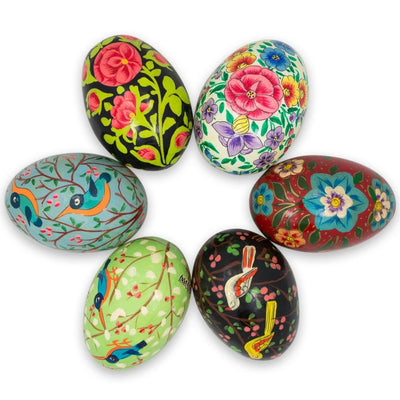 6 Birds and Flowers Ukrainian Wooden Easter Eggs 3 Inches by BestPysanky
