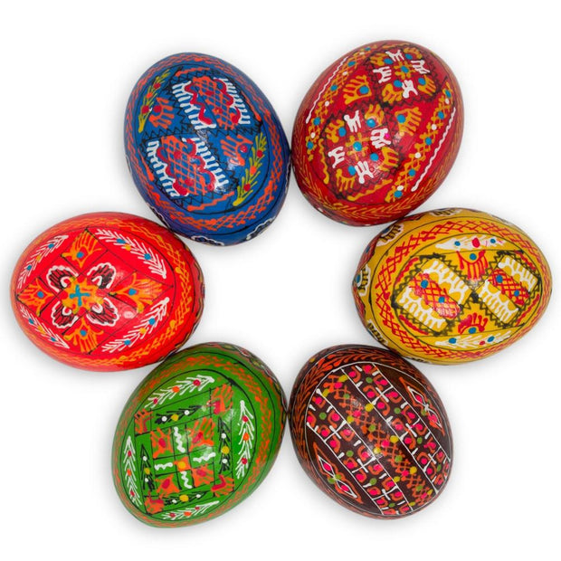 Set of 6 Hand Painted Ukrainian Wooden Easter Eggs 2.5 Inches by BestPysanky