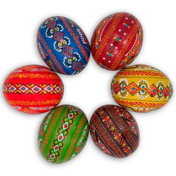 "BestPysanky Easter Eggs > Wooden Eggs > Regular Size - 2.5"" Set of 6 Hand Painted Ukrainian Wooden Easter Eggs"