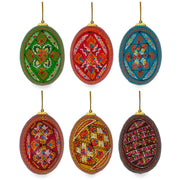 Set of 6 Hand Painted Ukrainian Wooden Easter Egg Ornaments 2.5 Inches by BestPysanky