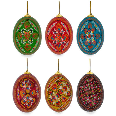 "BestPysanky Easter Eggs > Easter Ornaments - 2.5"" Set of 6 Hand Painted Ukrainian Wooden Easter Egg Ornaments"