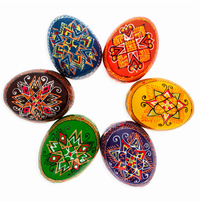 Set of 6 Multicolor Ukrainian Pysanky Wooden Easter Eggs 2.25 Inches by BestPysanky
