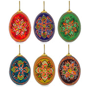 Set of 6 Hand Painted Wooden Ukrainian Easter Egg Ornaments 2.5 Inches by BestPysanky