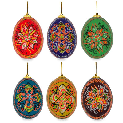 "BestPysanky Easter Eggs > Easter Ornaments - 2.5"" Set of 6 Hand Painted Wooden Ukrainian Easter Egg Ornaments"