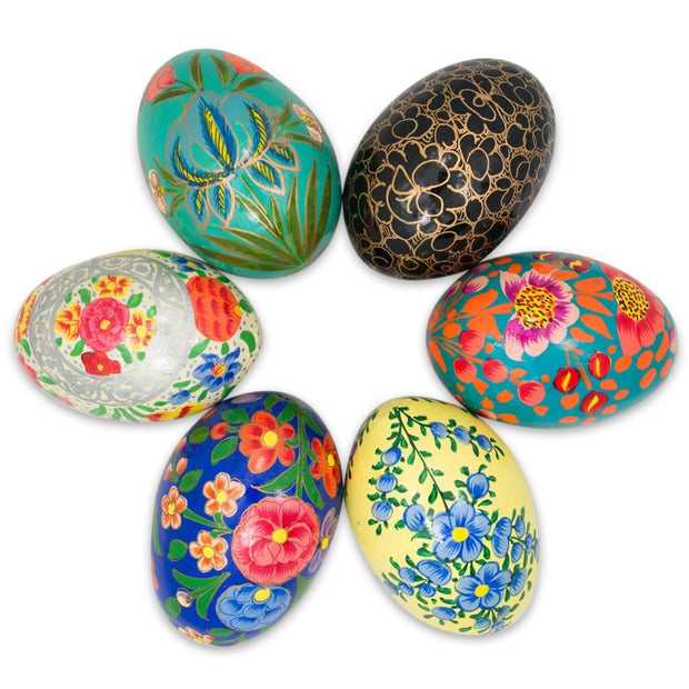 Set of 6 Floral  Theme Ukrainian Wooden Easter Eggs Pysanky 3 Inches by BestPysanky