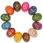 "BestPysanky Easter Eggs > Wooden Eggs > Regular Size - 2.5"" Set of 12 Colorful Ukrainian Pysanky Wooden Easter Eggs"