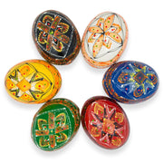 Set of 6 Colorful Ukrainian Pysanky Wooden Easter Eggs 2.5 Inches by BestPysanky