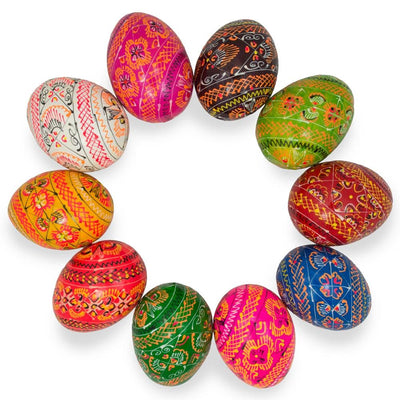 Set of 10 Colorful Ukrainian Wooden Pysanky Easter Eggs 2.25 Inches by BestPysanky