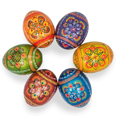Set of 6 Pearlized Ukrainian Pysanky Wooden Easter Eggs 2.25 Inches by BestPysanky