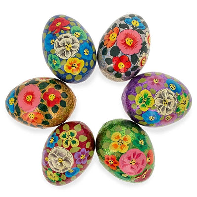 Set of 6 Glittered Flowers Ukrainian Wooden Easter Eggs Pysanky 3 Inches by BestPysanky