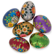 Set of 6 Glittered Flowers Ukrainian Wooden Easter Eggs Pysanky 3 Inches