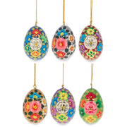 Set of 6 Multicolor Flowers Ukrainian Wooden Easter Eggs Pysanky Ornaments by BestPysanky