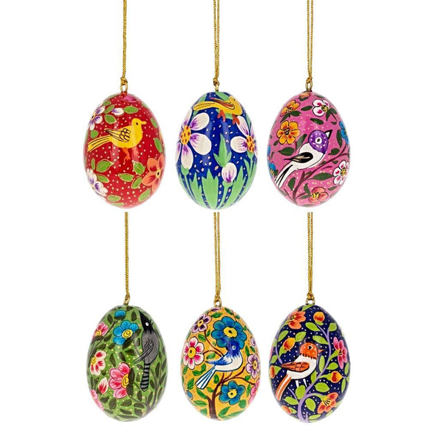 "BestPysanky Easter Eggs > Wooden Eggs > Regular Size - 3"" Set of 6 Birds Pysanky Ukrainian Wooden Easter Eggs Ornaments"
