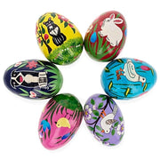 6 Animals Wooden Ukrainian Easter Eggs Pysanky 3 Inches by BestPysanky