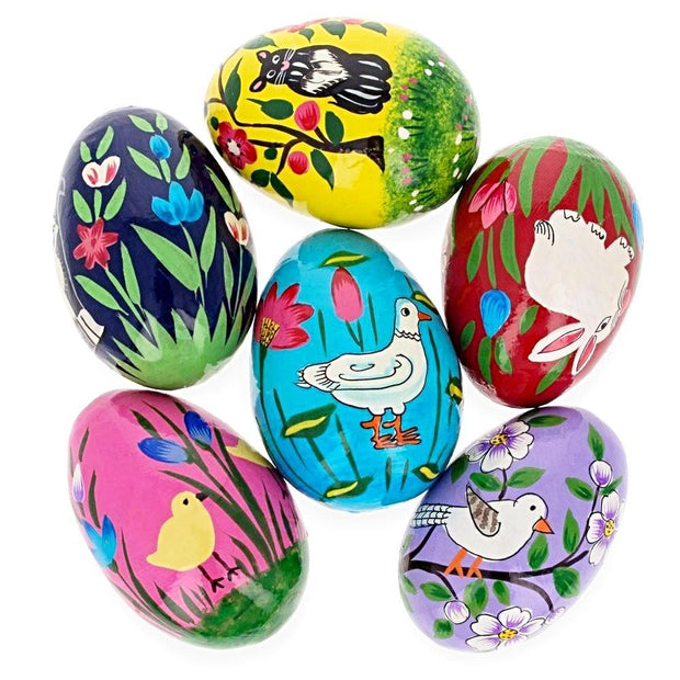 6 Animals Wooden Ukrainian Easter Eggs Pysanky 3 Inches