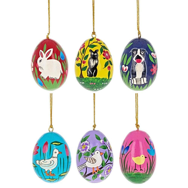 "BestPysanky Easter Eggs > Wooden Eggs > Regular Size - 3"" Set of 6 Animals Pysanky Ukrainian Wooden Easter Eggs Ornaments"