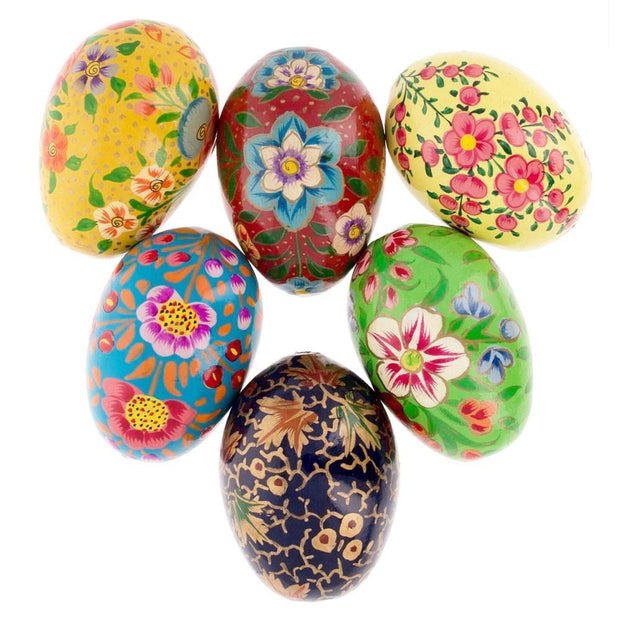Buy Online Gift Shop Set of 6 Flowers Ukrainian Wooden Easter Eggs Pysanky 3 Inches
