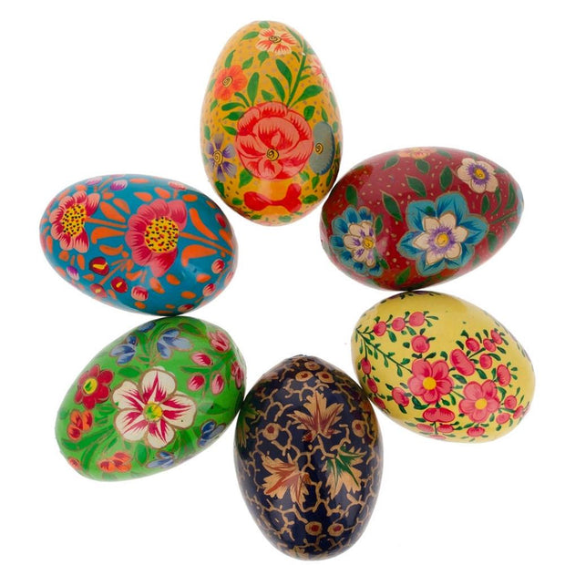 Set of 6 Flowers Ukrainian Wooden Easter Eggs Pysanky 3 Inches by BestPysanky
