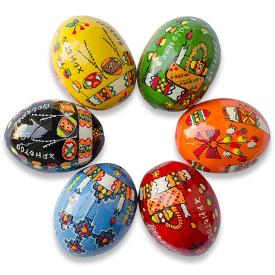 Set of 6 Religious Ukrainian Pysanky Wooden Easter Eggs 2.25 Inches by BestPysanky