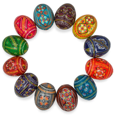 Set of 12 Ukrainian Hand Painted Pysanky Wooden Easter Eggs by BestPysanky