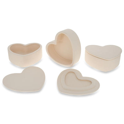 Set of 3 DIY Ceramic Heart-Shaped Trinket Boxes by BestPysanky