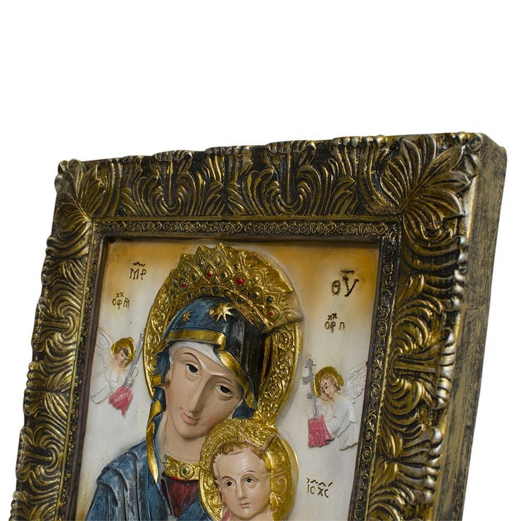 Mary with Jesus Christ Hand Painted Icon 12 Inches