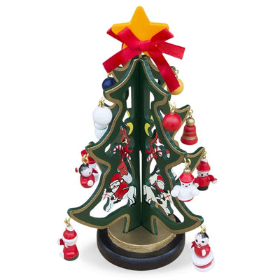 Set of 2 Tabletop Christmas Trees with Miniature Wooden Ornaments 6.5 Inches by BestPysanky
