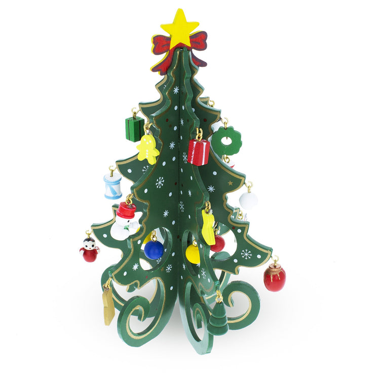 Buy Online Gift Shop Wooden Tabletop Christmas Tree with Cute Miniature German Style Wooden Ornaments 7.5 Inches