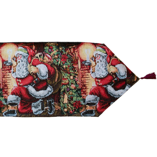 Santa Leaving Gifts Holiday Christmas Table Runner 85 Inches