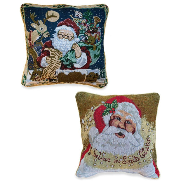 Set of 2 Santa Christmas Throw Cushion Pillow Covers 18 Inches by BestPysanky