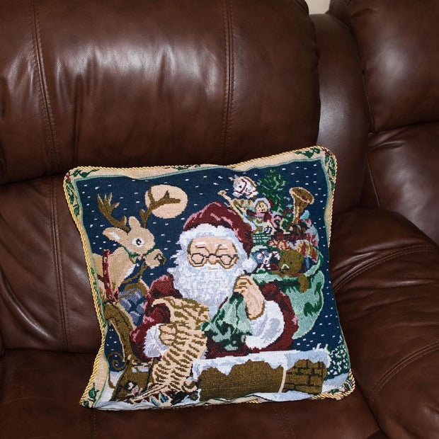Set of 2 Santa Reading Gifts List Christmas Throw Cushion Pillow Covers