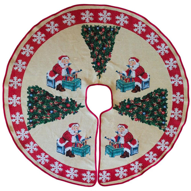 Santa Claus Reading Gift List by Christmas Tree Skirt 50 Inches by BestPysanky