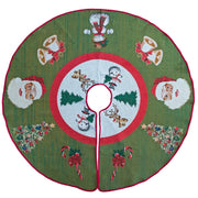 Santa, Bells, and Mistletoe Christmas Tree Skirt 50 Inches by BestPysanky