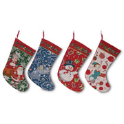 Set of 4 Mr. and Mrs. Claus, Angel, Elf and Snowman Christmas Stockings by BestPysanky
